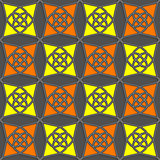 Geometrical Arabian ornament with slim wire yellow and orange