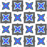 Geometrical ornament with gray squares and blue flower on white