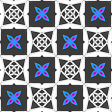 Geometrical ornament with gray squares and blue flower
