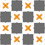Geometrical ornament with gray squares and orange flower
