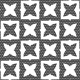 Geometrical ornament with white shapes and dotted texture