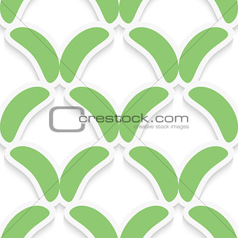 Green simple shapes on white pattern