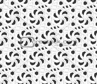 Layered 3d ornament with black on white background