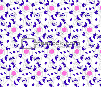 Layered ornament with blue and pink on white background