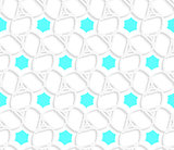 White 3d ornament with blue hexagons pattern