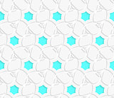 White 3d perforated layered with blue hexagons ornament