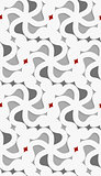 White 3d wavy with red and gray pattern