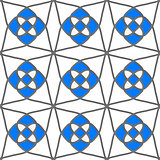 White geometrical ornament with gray and blue