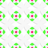 White geometrical ornament with green and pink