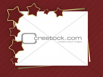 christmas card with red stars