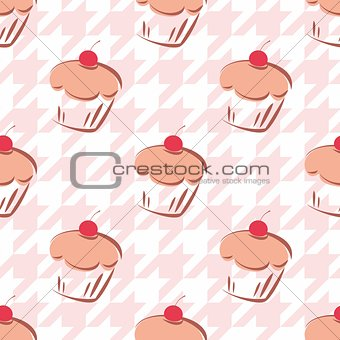 Tile vector background with cherry cupcake and pink houndstooth pattern