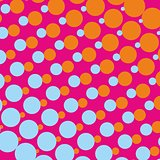Pink vector background with orange and blue dots