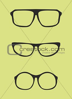 Black glasses vector isolated on green background.
