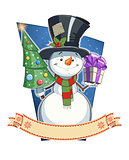 Snowman with gift. �hristmas character