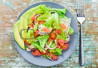 Avocado salad on a plate