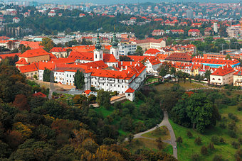 Aerial view over Strahov Monastery in Prague, Czech Republic