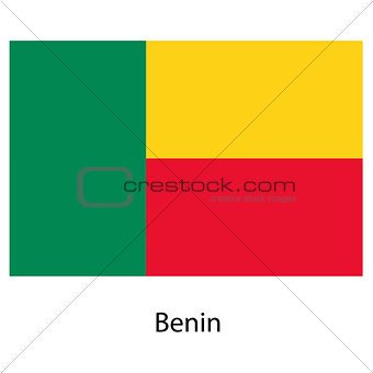 Flag  of the country  benin. Vector illustration.