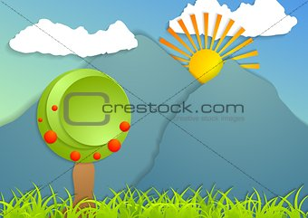 Flat landscape abstract background