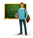 Male teacher with blackboard