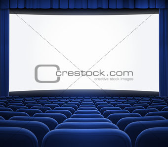 cinema screen with open blue curtain and seats