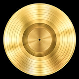 gold record music disc award isolated on black