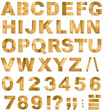Golden or brass metal alphabet letters, digits and punctuation m