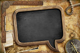 Adventure retro concept. Nautical vintage blackboard background.