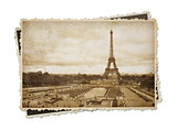 Eiffel tower in Paris vintage sepia toned postcard isolated on w