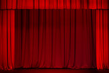 red curtain on theater or cinema stage wide open