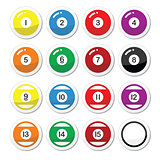 Pool ball, billiard or snooker ball icons set