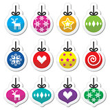 Christmas ball, Christmas bauble colorful labels set