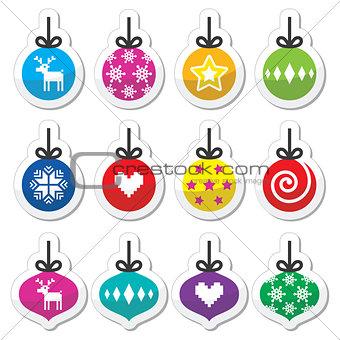 Christmas ball, Christmas bauble colorful labels set