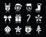 Christmas white icons with shadow set on black