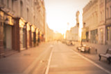beautiful street in the historical city center at sunrise time.