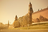 Autumn view of Moscow Kremlin wall at sunrise time.