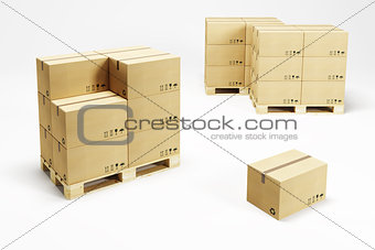 pallets with cardboard boxes