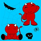 demon halloween cartoon kid set5