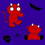 demon halloween cartoon kid set1