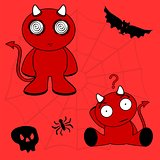 demon halloween cartoon kid set