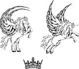 pegasus horse sticker tattoo set 3