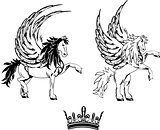 pegasus horse sticker tattoo set 2
