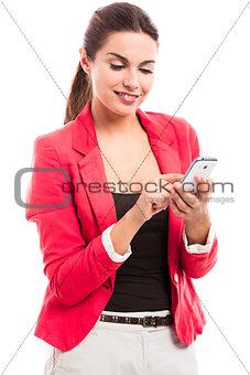 Business woman sending sms