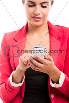 Business woman sending sms