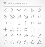 Set of outline arrow icons
