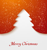 Red abstract christmas tree applique with snow particles