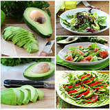 Set salads with fresh avocado and fruit sliced on the board