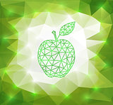 Green triangle apple with background