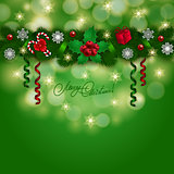 New Year's background - a garland of fir branches, balls, berries