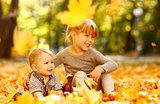 beautiful little girl with a little brother in the autumn park p