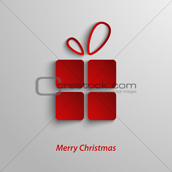 Christmas card with red gift on white background